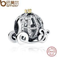 Wholesale Pandora Pumpkin - 100% 925 Sterling Silver Pandora Style Charm for Bracelet Openwork Cinderella's Pumpkin Crown Jewelry Making