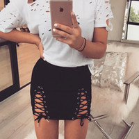 Wholesale Sexy Leather Mini Skirts - Women Autumn Lace-up Pencil Skirt 2017 Winter Fashion Cross Fashion Suede Strap Sexy Hip Pack Solid Short Mini Skirts Above Knee