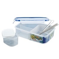Wholesale large fork - Bento Box Simple Plastic Rectangular With Large Capacity Bentos Boxes Microwave Oven Heating Thermal Insulation Sealing Lunch Case 11rc E1 R