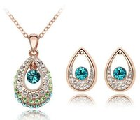 orange swarovski crystals - 18K Gold Silver Plated Teardrop Austrian Crystal Necklace Earrings Jewelry Set Made With Swarovski Elements Women Wedding Jewelry Sets