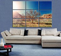 9pcs / set Unframed Dry Tree Gobi Desert Oil Painting On Canvas Giclee Wall Art Painting Art Picture Для домашнего украшения
