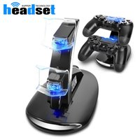 Wholesale Dock Station Wireless - 2017 Newest DUAL USB Charging LED Controller Chargers For Play Stations PS4 Controller Charging Dock Station Stand