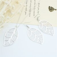 Wholesale Leaf Pendant Silver Earrings - Fashion Jewelry 925 Silver Earrings & Necklace Set Hollowed-out Leaf Pendant Necklace For Women Wedding Jewelry Sets