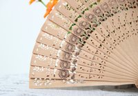 Wholesale Folk Art Carving Wood - Brand new Home decoration Sandal wood Pure manual carving printing Chinese hand-held fan lot drop shipping