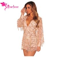 Wholesale Dresses Women Romper - Dear-Lover Party Jumpsuit Women Autumn 2016 Champagne Flowing Sequins Long Sleeves Romper overalls Fashion club playsuit LC64183