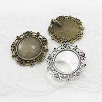 Wholesale Filigree Cabochon Settings - 5 set two color round Cameo Filigree Cabochon Settings 39mm(Fit 25mm)Metal Photo Jewelry Making + Clear Glass Cabochons A4116-1