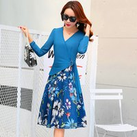 Wholesale Skirt Woman Fashion Korea - 2017 Fashion V-Neck Chiffon Dresses Korea Style For Women Top Quality Floral Print Summer Casual Skirts Free Shipping