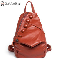 Wholesale Cow School Bags - Wholesale- Go Meetting Genuine Leather Women's Backpack Unique style Cow Leather Women Shoulder School Bag Fashion Travel Backpack WB13