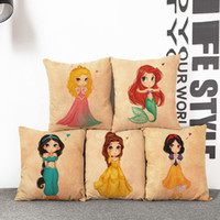 Wholesale Princess Car Seat Covers - Watercolor Painting Cartoon Mermaid Princess Cushion Covers Little Girl Decorative Pillow Cover Linen Pillow Case For Car Sofa Couch Seat