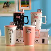 Wholesale Coffee Spoons Porcelain - Best Price Creative Kawaii Cartoon Mugs Novelty Hello Kitty Gift Mug Ceramic Cute Summer Cool Drink Breakfast Milk Coffee Juice Water Cups