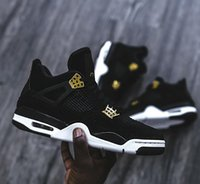 Wholesale Box 4s - (with box) AAA+ quality Air retro 4 IV Royalty men Basketball shoes Suede Black Gold retro 4s Athletic sports shoes sneakers size 41-47
