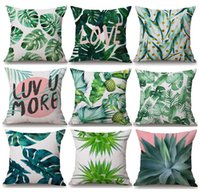 Wholesale Banana Cushion Pillow - Tropical Plants Green Leaves Cushion Covers Summer Monstera Banana Palm Leaf Pineapple Cactus Cushion Cover Linen Cotton Pillow Case