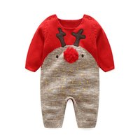 Wholesale Infant Wool Sweater - Newborn romper sweater autumn new baby unisex deer cartoon ball top knitting wool long sleeve jumpsuit pullover infant cute clothing C0469