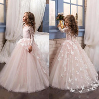 Wholesale butterfly christmas lights - 2017 Blush Lace Long Sleeves Ball Gown Flower Girls Dresses Full Butterfly Kids Pageant Gowns Little Girl Birthday Party Dresses BA4371