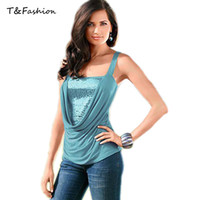 Wholesale Ladies Rhinestone Vest - New Fashion Women's Rhinestone Sequin Tank Top Sling Camisole Camis Shirt Vest Slim Solid with Sequined for Ladies