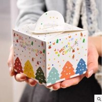 Wholesale Wholesale Decorative Storage Boxes - 50Pcs PASAYIONE Christmas Tree Pattern Candy Boxes For Apple Chocolate Creative Storage Box With Handles Event Party Supplies