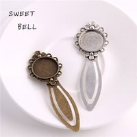 Wholesale Wholesale Blank Bookmarks - Sweet Bell Min order 8pcs Two color Alloy Cameo Flower Steel Bookmarks 20mm-28*83mm Round Cabochon Settings Jewelry Blank Charm A4271-2