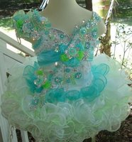 Wholesale Pageant Cup Cake Dresses - Glitz Blue And Green Little Girls Pageant Dresses 2017 girls ball gowns Short Pageant Gown for Girls Little Cup Cake