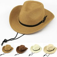 Wholesale Large Wide Visor - West Cowboy Folding Men Straw Hats Summer Beach Wide Large Brim Sunhats Visor Caps Panama Hats Jazz Caps