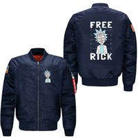 Wholesale Outerwear Usa - New style Outerwear spring men leisure waterproof Jacket Rick and Morty collar code Air Force pilots Jacket men's baseball uniform,USA Size
