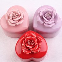 Romantique Rose Heart Forme ronde Céramique Box Jewelry Holder Wedding Candy Box Birthday Party Favor Offres cadeaux ZA3844