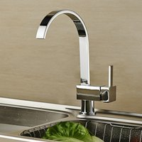 Wholesale Kitchen Faucet Ceramic Valve - Kitchen Faucet Waterfall Tall High Arc Faucet Deck Mounted with Ceramic Valve Single Handle One Hole Nickel Brushed Tap Copper Faucet