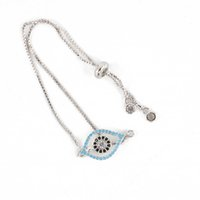 Wholesale Evil Eye Bracelet Colors - 4 Colors New Design ECO-Friendly Evil Eye Shape Jewelry Bracelet Cubic Zircon Charm Chain Bracelet ICSL053