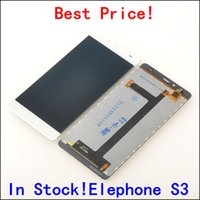 """Wholesale Touch Screen For S3 - Wholesale- LCD Display +Digitizer Touch Screen Assembly For Elephone S3 Cellphone 5.2"""" Black   White color In Stock!"""