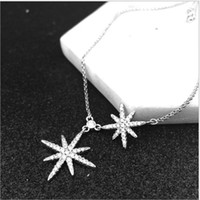Wholesale Toggle Clasp Pendant - The two stars of fashion and Europe, star pendant, micro - embedded diamond meter can adjust the length of the bracelet
