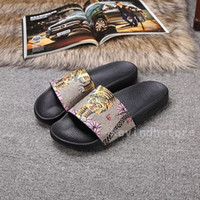 Wholesale Cool Canvas Prints - Summer men and women sandals real leather print tiger head word slippers 3D printing cool slippers casual beach shoes