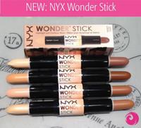 gölgeli kapatıcı toptan satış-NYX Wonder Sopa Kapatıcı Göz Yüz Makyaj Kapak Kadınlar Fosforlu 4 Renk kontür gölge sopa Işık / Orta / Derin / Evrensel Bırak Nakliye
