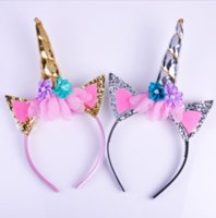 Wholesale Hair Dressing Heads - Fashion Magical Girls Kids Decorative Unicorn Horn Head Fancy Party Hair Headband Fancy Dress Cosplay Costume Jewelry Gift