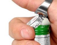 ingrosso apri di bottiglia di qualità-RING Beer Bottle Opener Argento Acciaio inossidabile Metallo Finger Thumb portachiavi Nuovo di buona qualità G137