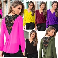 Wholesale Chiffon Cross Shirt Long Sleeve - Fashion Back Lace Stitching Chiffon Shirt Long Sleeves Blouses Cross Solid Color Wild Women's Tops 9913
