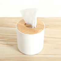 Wholesale roll tissue dispenser - Wholesale- Europe Wood Tissue Box Holder Cover Home Decor Bathroom Storage Roll Paper Canister Cover Case Holder Box Dispenser White Color