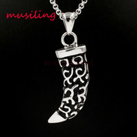 Wholesale Silver Knife Necklace - musiling Jewelry Wolf Tooth Moon Knife Stainless Steel Pendants Necklace Chain Pendulum Charms Reiki Amulet Fashion Charms Mens Jewelry