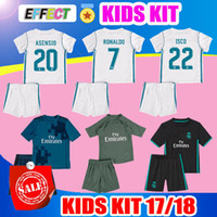 Wholesale Real Football Jerseys - 2018 Real Madrid Kids Kit Soccer Jersey 2017 18 Home White Away black Third Boy Jerseys Ronaldo Bale ASENSIO ISCO Child Football Shirts