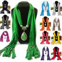 Wholesale Pashminas Pendants - fashion pendant scarf multifunctional shawl water drop tears pendant charm scarves women plain pashmina wraps
