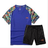 li jersey venda por atacado-Tenis Mujer 2016 Li Ning Badminton Jersey Conjunto de Tênis De Mesa Das Mulheres Dos Homens Camisas E Curto Ping Pong Shorts Frete Grátis