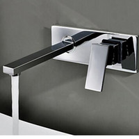 Wholesale Sink Faucet Brass Wall Mounted - BAKALA Free shipping Bathroom Basin Sink Faucet Wall Mounted Square Chrome Brass Mixer Tap