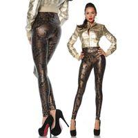 Wholesale Snakeskin Leather Leggings - Euramerican 2016 New Fashion Gothic Punk Rock Elastic High Waist Seamless Snakeskin Faux Leather Leggings Pencil Pants For Women