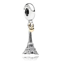 Wholesale Glass Eiffel - Authentic 925 Sterling Silver Bead Charm Paris Eiffel Tower & Gold Heart Pendant Beads Fit Women Pandora Bracelet Bangle Diy Jewelry HKA3188