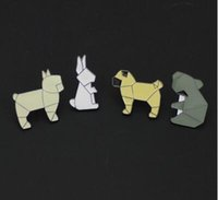 Wholesale Origami Japanese - Japanese cartoon cute enamel Brooch Student jewelry Animal Dog Bunny Origins Origami drop glaze Brooch Pins Badge Pinback Button Corsage Gif