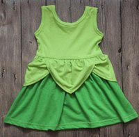 Wholesale Girls Dresses Tinker Bell - Girls Hallowee Princess Dress Tinker Bell Princess Cosply Green Kids Party Dress Baby Cotton Mermaid Minnie Cosply Dress
