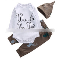 Wholesale Girl S Summer Hats Caps - HOT Christmas Children Clothing Sets Long Sleeve Deer Letter Print Rompers + Pants + Caps Hats 3pcs Set Cartoon Baby Suits White A7613