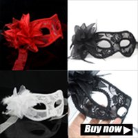 Wholesale Paper Masks For Sale - hot sale sexy Black white red Women Feathered Venetian Masquerade Masks for a masked ball Lace Flower Masks 3colors M17