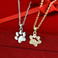 Wholesale metal charms pendants cat - Metal alloy Cute animal cat paw feet necklace gold silver dog claw paws shaped pendant necklace women girl's fashion jewelry