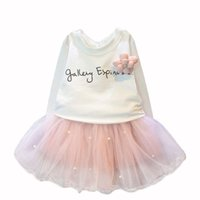 Wholesale Wholesale Children Clothing For Retail - Wholesale- lovely girls white tee shirt and pink skirt with rhinestone clothes set for kids girl autmn children clothing set suit retail