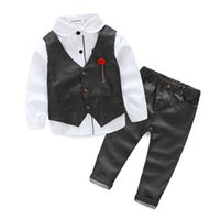 Wholesale High Fashion Baby Boy Clothes - Fashion new winter The boy gentleman 3pcs set baby boy clothes long sleeve t-shirt +Vest+pants kids party suit high quality