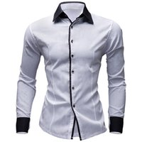 Wholesale Wj Cotton Men - Wholesale- WJ Brand Solid Spring Autumn Cotton Dress Shirts Mens Casual Shirt Long Sleeve Fashion Men Slim Fit Social Business Shirts